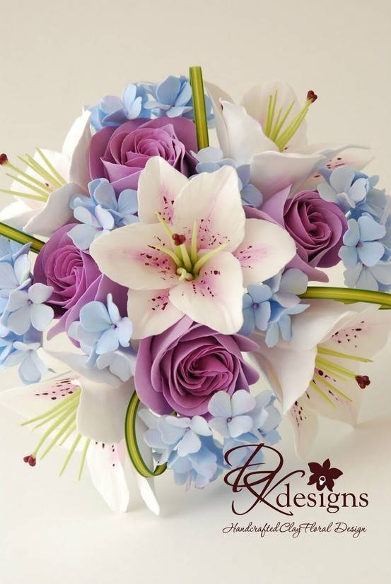clay flowers as jewelry or display in bouquet