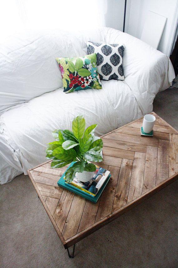 Custom Herringbone Coffee Table by HighsmithHandcrafted on Etsy                                                                                                                                                                                 More