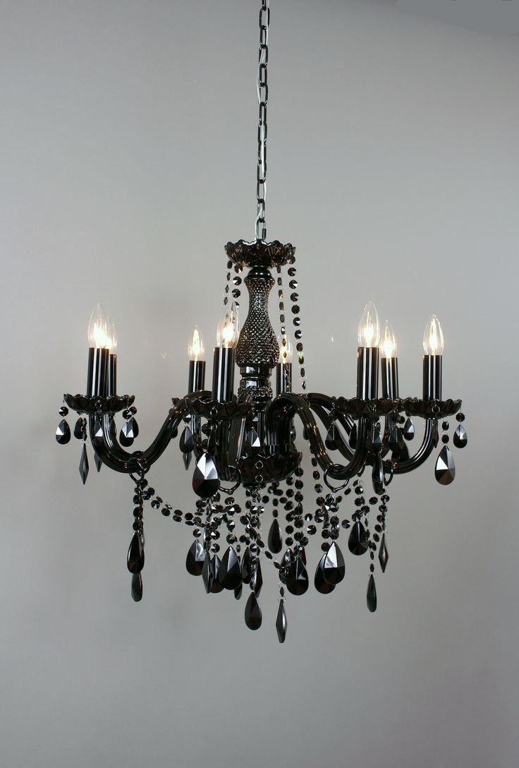 Dimensions: 29.5HX24.375WX24.375D The traditional chandelier silhouette is given new meaning when in black. Formal yet rebellious, this lamp lends class and character to the room yet is unique and dem
