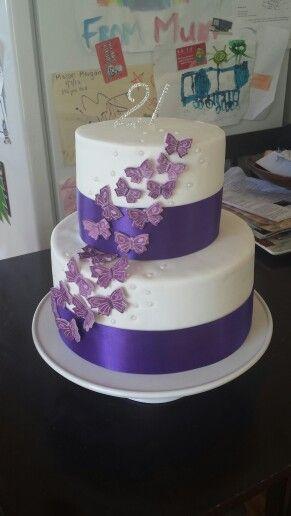 Purple Butterfly fondant cake by Jess
