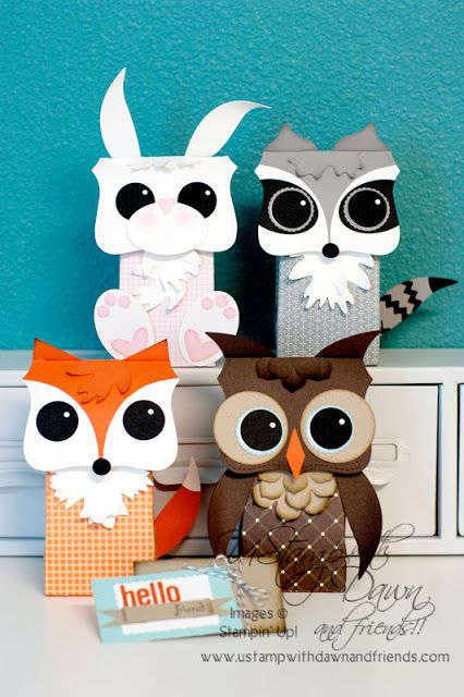Cute Critters - using a top note, circle punch and milk carton