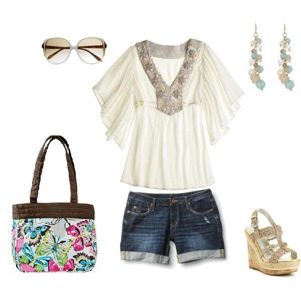 """Spring Summer fashion with denim shorts, fashion earrings, sunglasses and wedge sandals. Don't forget the """"Demi"""" purse from thirty-one! With purchase of $31 in April get this bag for just $14.50 www.mythirtyone.com/dianecaudill"""