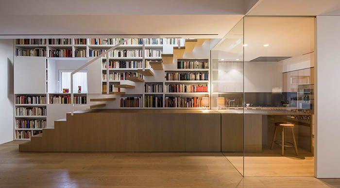 Barcelona, minimalism, Francesc Rife Studio, wood, glass, bookshelves