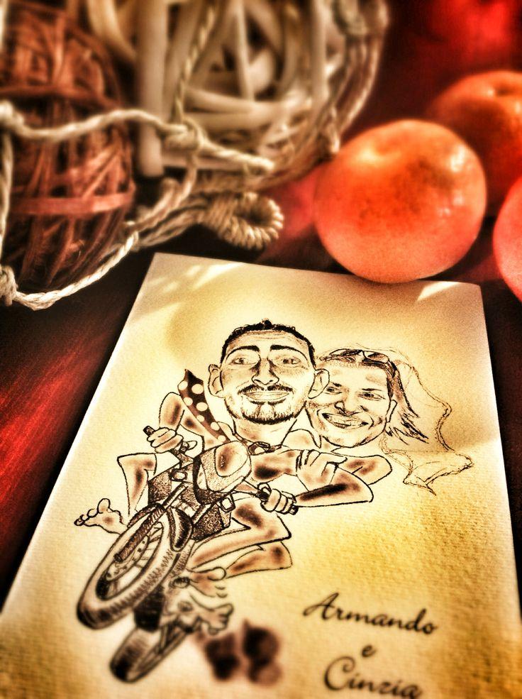 Un invito di matrimonio originale con caricatura monocromatica su cartoncino vergato. www.latuacaricatura.it