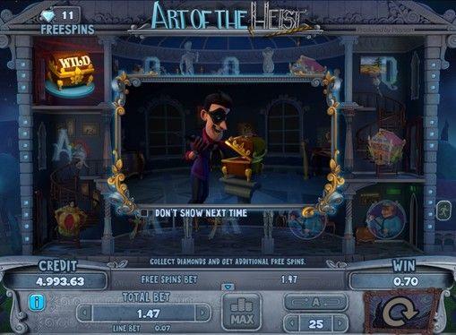 Art of the Heist в казино с моментальным выводом денег. Онлайн игра Art of the Heist от компании Playson позволит вам моментально вывести призы из казино. Вы будете выигрывать деньги, похищая произведения искусства из музея.   Основные правила игры Игровое поле здесь исполнено