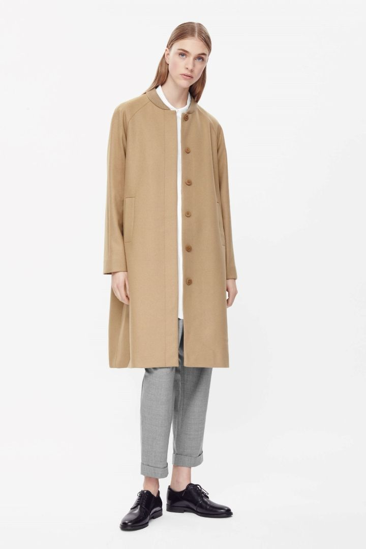 Rib-neck wool coat