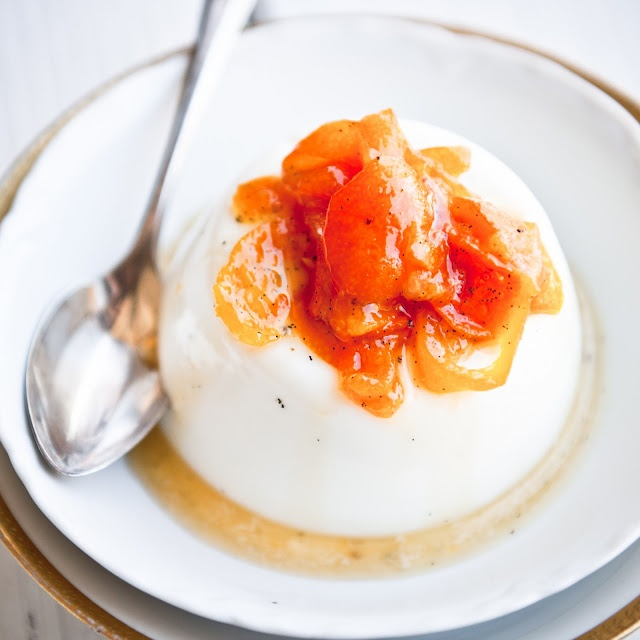 Osmanthus (flower) scented panna cotta with kumquats in ...