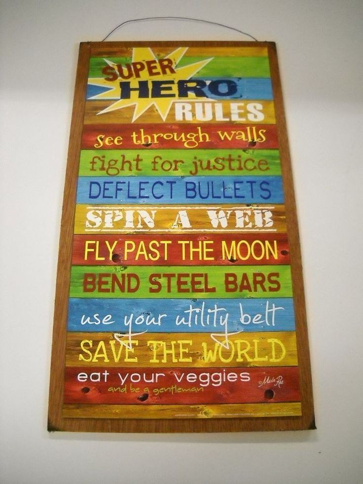 Lovely Super Hero Rules Boys Bedroom Inspirational Wooden Wall Art Sign superheroes