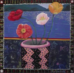 Pamela Wolfe, 'Poppies' (1987) Oil on board, 620 x 620 mm, POA at the Remuera Gallery