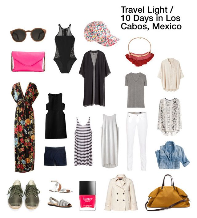 """Travel Light: 10 Days in Los Cabos, Mexico"" by hejdoll ❤ liked on Polyvore featuring T By Alexander Wang, AG Adriano Goldschmied, J.Crew, Steven Alan, Zara, Victoria's Secret, H&M, BLACK CRANE, Nieves Lavi and Butter London"