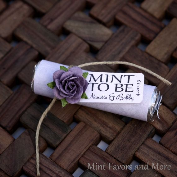 "Mint Wedding Favor with Personalized ""Mint to be"" tag - purple, plum, winery, lilac, lavender"