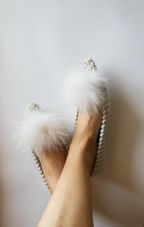 Women slippers  SILVER wedding dance shoes  Genuine by NENAKNIT