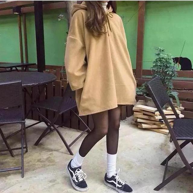 Fashion New Women Harajuku Style Loose Hoodies Females Long Solid Color Hoodeduotelab