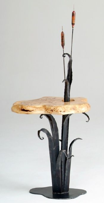 Forged Metal End Table with Cattails