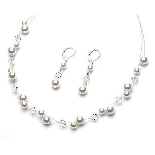 Pearl bridal jewelry, pearl & crystal wedding jewelry set.