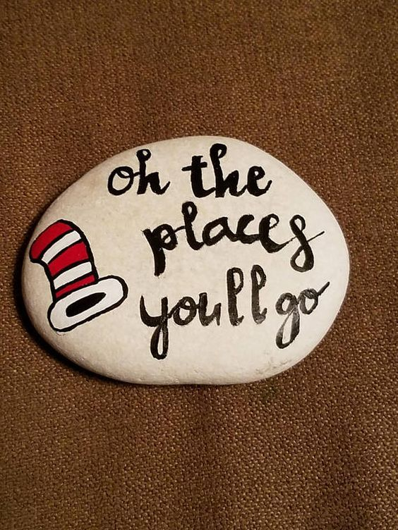 Hand painted River Rock Dr Seuss