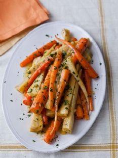 Barefoot Contessa - Recipes - Orange-Braised Carrots & Parsnips