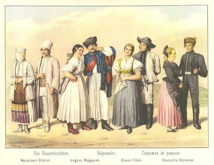 Folk costumes of Hungary from year 1855… from left Wallachian (Romanian), Magyar (Hungarian), Slovak and German. Slovak one is from region T...