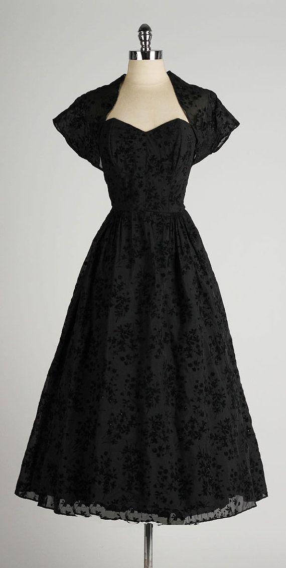 vintage 1950s dress . black flocked flower by millstreetvintage