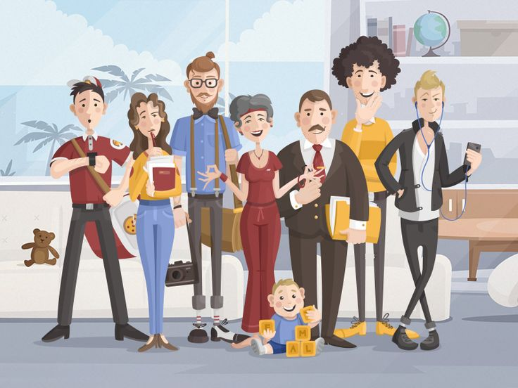 Vector family illustration. Flat. The Fine Clan