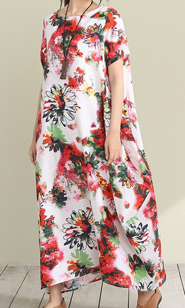 Women loose fit over plus size retro vintage flower dress maxi long tunic pocket #Unbranded #dress #Casual
