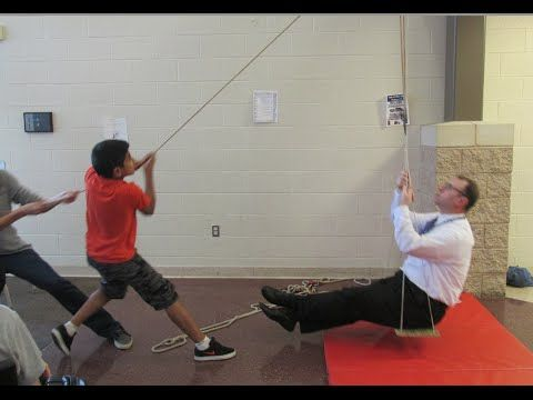 Single and compound pulleys review - lifting our principal // Homemade Science with Bruce Yeany - YouTube