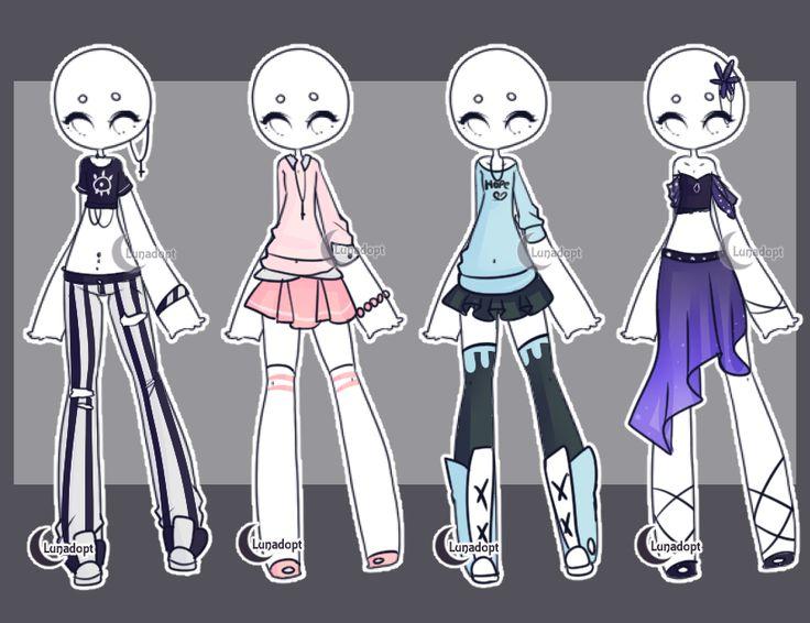 set 5 gacha outfits by lunadopt outfits pinterest zeichen ideen zeichen und anime. Black Bedroom Furniture Sets. Home Design Ideas