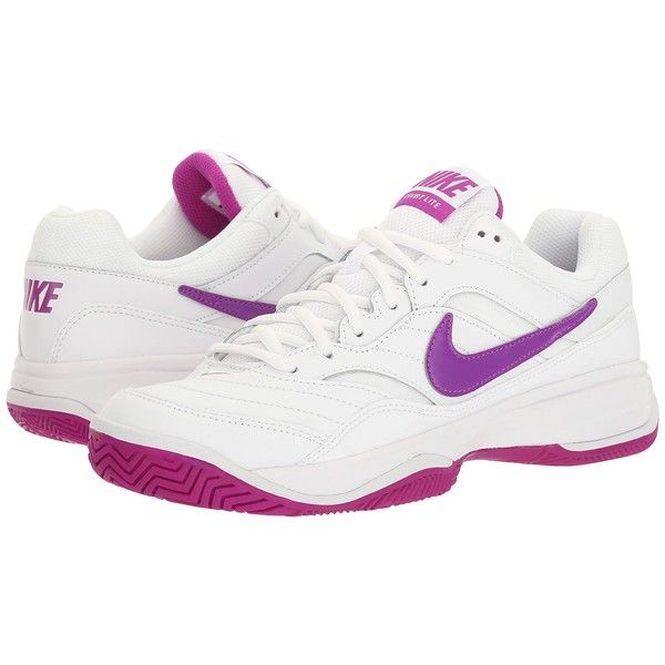 Nike Court Lite (White/Vivid Purple/White) Women's Tennis Shoes ($65) ❤ liked on Polyvore featuring shoes, athletic shoes, tennis shoes, white lace up shoes, nike shoes, breathable shoes and leather athletic shoes