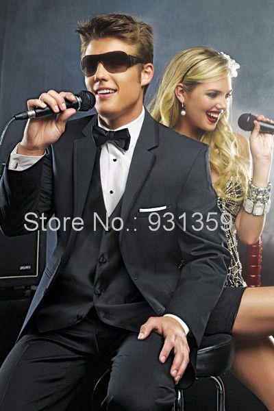 Черный высокое качество на заказ смокинг жениха мужчины свадебные костюмы пром / формальный костюм ( куртка + брюки + жилет + галстук ) ZB387 свадебного наряда костюмы