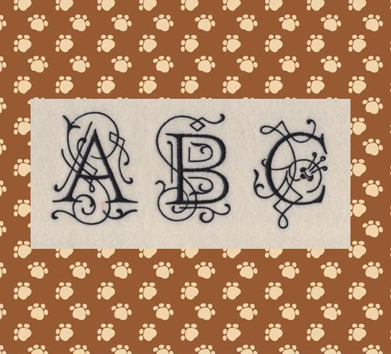 Ornamental Monogram Machine Embroidery Font in 4 Sizes on Etsy, $4.95