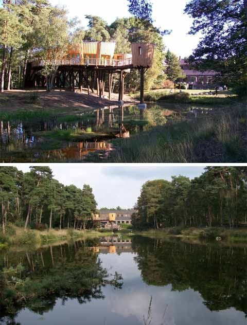 Kaban van Kapellerput: Among The Trees. This beautiful tree house is located south of Eindhoven, The Netherlands. It was designed to serve as a reception area for seminars, workshops, company outings or for private parties and special ceremonies.