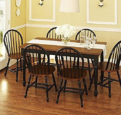 new 7 piece farmhouse dining set table and 6 windsor chairs black and brown dining room