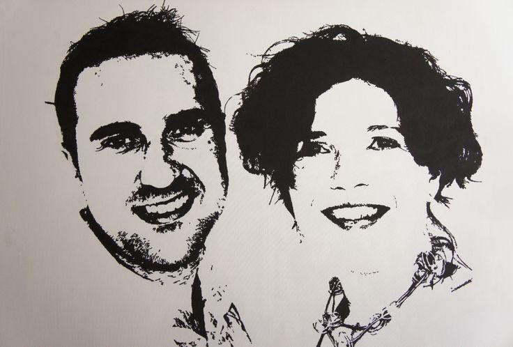 Jorg en Elke geschilderd in zwart-wit op een 'huge' doek: 115 X 75 cm met verbluffend resultaat! Leuk kado voor bijvoorbeeld een bruidspaar.
