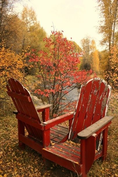 time worn Adirondacks  - If I had this view, my chairs would be worn out too