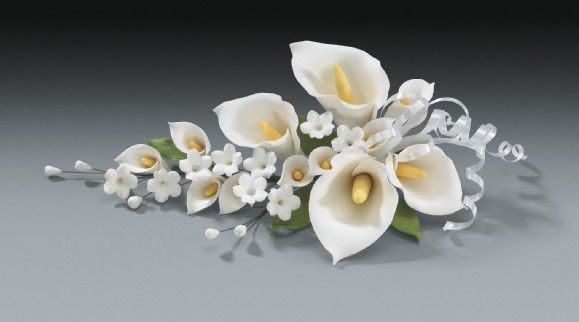 3 Calla Lily Gum Paste Flower Sprays for Weddings and Cake Decorating - Available in any color. $55.97, via Etsy.