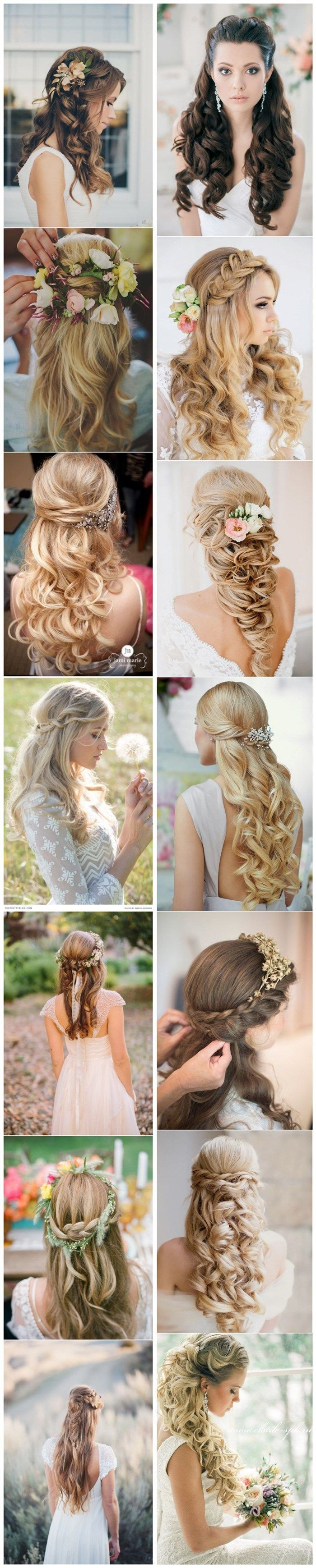 Stunning Half Up Half Down Wedding Hairstyles.