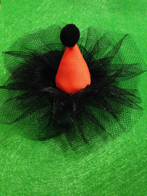 Witches Hat/ Halloween hair clip/ Birthday Girl Party Hat Clippie / Girlie Hair by LaVieDeLily