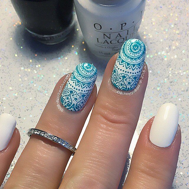 WEBSTA @ ohmygoshpolish - ️NEW TUTORIAL IS LIVE ON MY YOUTUBE CHANNEL!! LINK IN MY BIO☝️.I used #OPI #ColorPaints Turquoise Aesthetic over #OPI alpine Snow, both from @hbbeautybar . Stamping plate is a double sided plate created by @franmendezg  for @ejiubas . Ring is from @sonailicious_boutique .