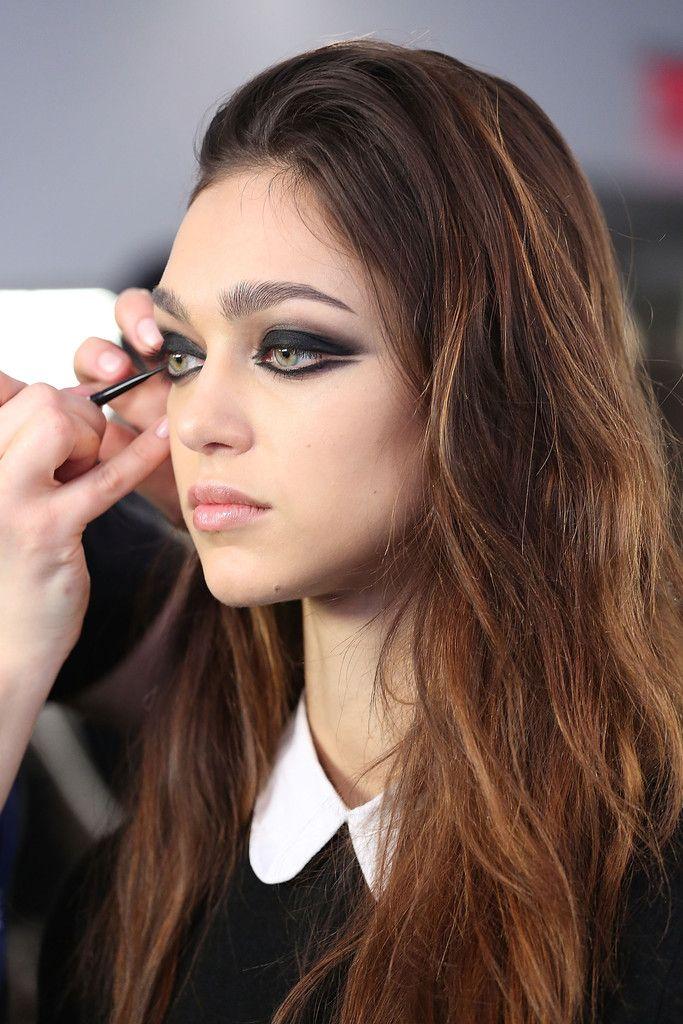"loveyourmakeup: ""vogxed: ""runwayandbeauty: ""Absolutely beautiful Zhenya Katava - Backstage at Cushnie et Ochs Fall 2015 | NYFW. "" "" Wowzers - that black smokey eye looks great. Makes her green eyes..."