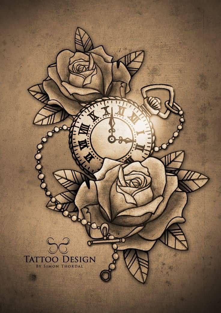 Rose Flowers And Clock Tattoo Design