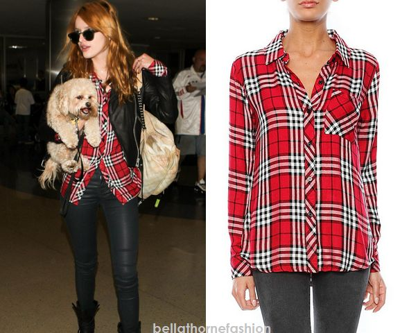Bella Thorne wears this Rails Hunter Long Sleeve Button Down in Scarlett/White arriving in LAX on November 12th 2014.
