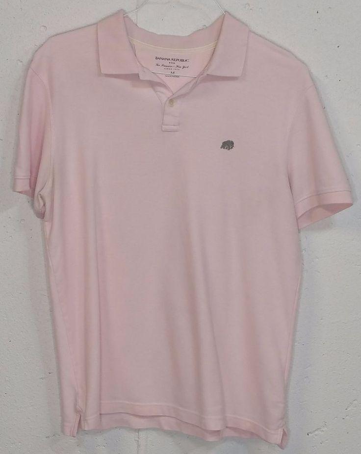 Banana Republic Mens Pink Pique 100% Cotton Short Sleeve Polo Shirt Medium M #BananaRepublic #PoloRugby