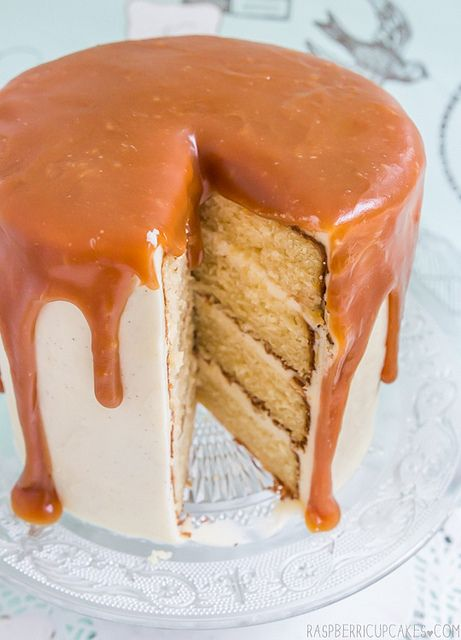Brown Butter Cake with Vanilla Bean Icing and Salted Caramel  *drool*