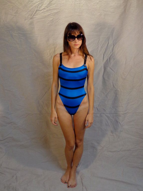 One Piece Swimsuit Vintage 80s Striped Bathing Suit