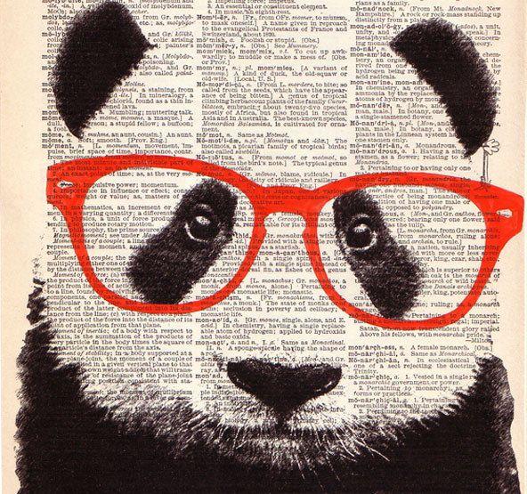 PANDA Bear Wearing Glasses ORIGINAL Art Hand Painted Mixed Media Print Illustration on Antique 1930's English Dictionary Book Page 8x10. $10.00, via Etsy.