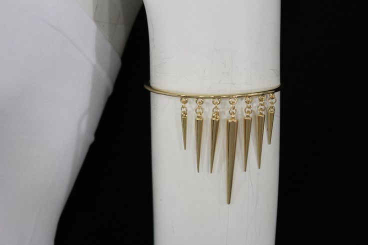 Gold Metal Arm Cuff Body Bracelet Long Spikes Fringe Armband New Women Fashion Accessories