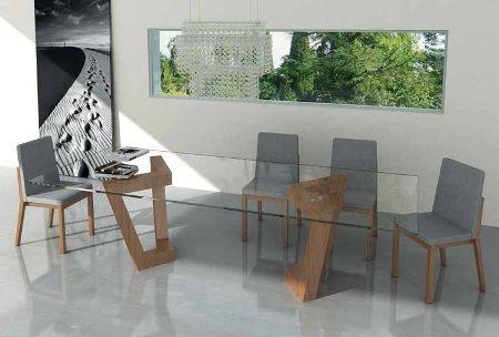 Mesa de comedor fija sobre cristal transparente de 15mm