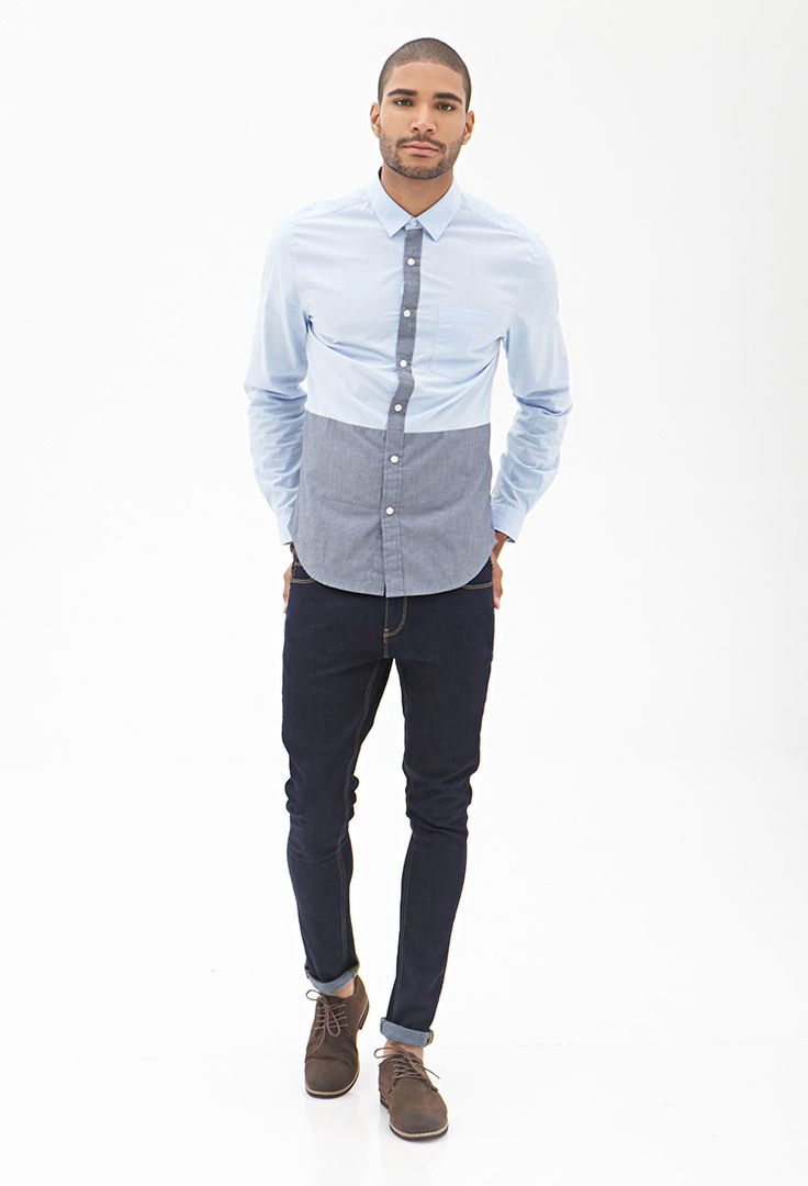Colorblocked Button-Down Shirt #21Men