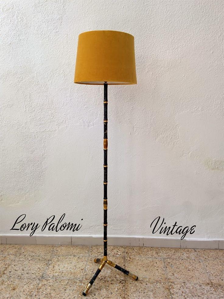 LAMPARA DE PIE IMITACIÓN BAMBÚ NEGRO Y DORADO VINTAGE floor lamp faux bamboo black and gold