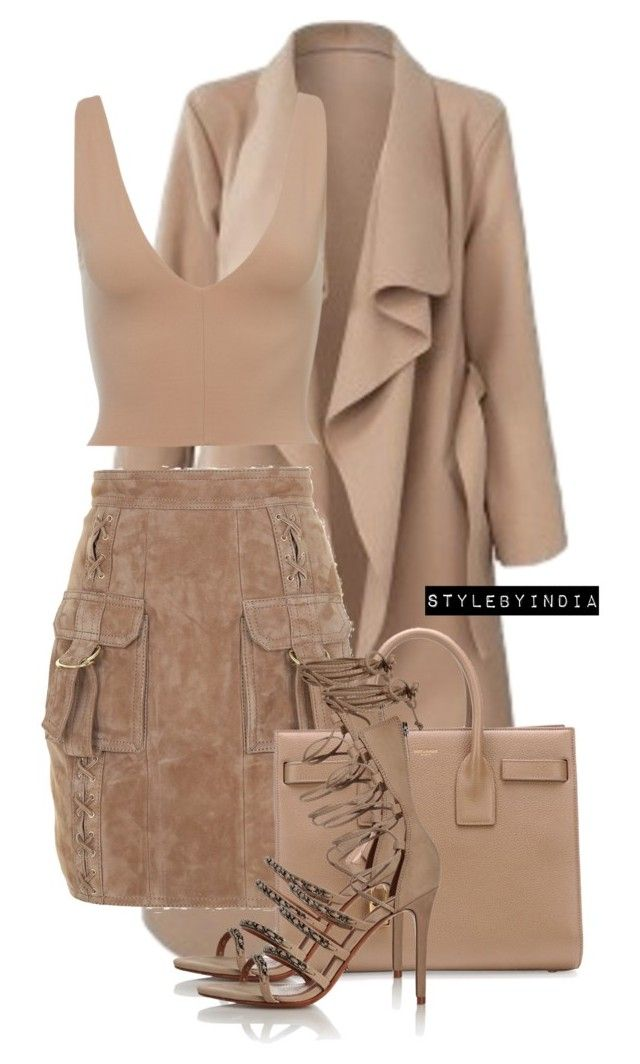 """Untitled #1673"" by stylebyindia ❤ liked on Polyvore featuring Balmain, Yves Saint Laurent and Schutz"